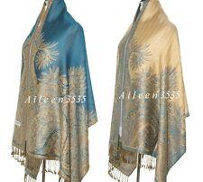 Triple Layer Pashmina & Silk PaisleyShawl-Blue #D