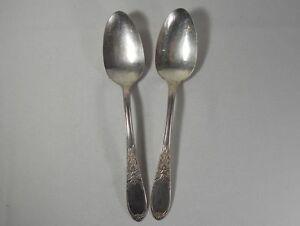 International Silver Burgundy Silverplate Pair of Table / Serving Spoons
