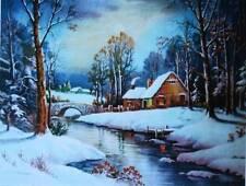 vintage light winter snowy stream Bridge House William Thompson