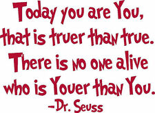 wall decal Dr Seuss vinyl lettering Today you are you school quote red FREE SHIP
