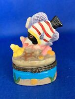 """Vintage Porcelain Pill Box, Seaside Motif w Angle Fish, 3"""" Tall, Made in China"""
