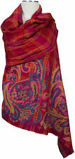 Un Pashmina écharpe, 100% Laine Wool Scarf Stole écharpe foulard rouge rose orange red