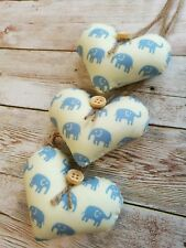 HANDMADE SHABBY CHIC HANGING HEARTS DECORATION BABY BLUE CREAM ELEPHANT GIFT