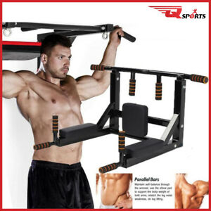 Q Sports Pull Up Bar Wall Mounted Fitness bar Chin Ups Upper Body Training Black