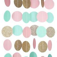 Pink Mint and Gold Glitter Circle Polka Dots Paper Garland Banner 10 FT Banner