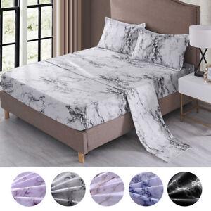 4 Piece Marble 1800 Count Bed Sheet Set Deep Pocket Comforter Cover Soft Bedding