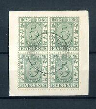 Hong Kong KGVI 1938 5c green SG.F12 used block on piece