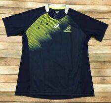 Wallabies Rugby Jersey Asics Australia Training Shirt RARE Blue Green Medium