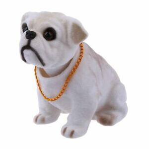 White Light Gray Shaking Head Nodding Bulldog Dog Decoration for Car E9K2
