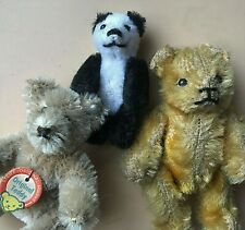 "(3) Miniature Schuco Panda Steiff 3"" Teddy & Antique Glass Eye Bear Lot"