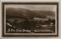 Birthday postcard with panorama photograph, posted