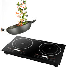 2*1200W Double Induction Cooker 8Gear 110V Built-in Dual Pot Electric Countertop