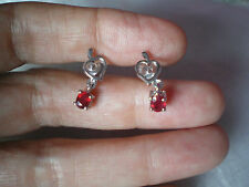 Madagascan Ruby, stud earrings, 0.96 carats in 1.7 grams 925 Sterling Silver
