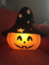 VINTAGE HALLOWEEN PUMPKIN Jack O Lantern WITH WITCH HAT LIGHTS Indoor Decor