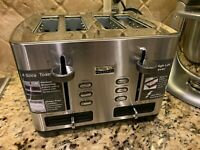 Bella - 1400W 4-Slice Wide-Slot Toaster - Silver