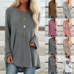 Women Baggy Casual Tunic Tops Ladies Long Sleeve Loose Pullover Blouse Shirt UK