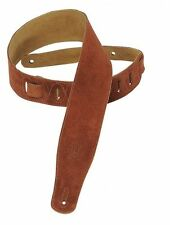 "Levy's MS26-RST Guitar Suede Leather Strap 2.5"" Rust - New"