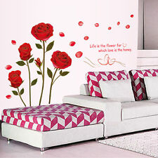 Red Flower Roses Quote Vinyl Wall Art Stickers Wall Decals Decor