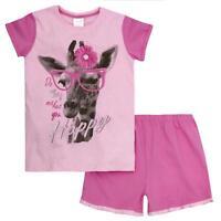 Girls Pink Giraffe Design Summer Shorts Pyjama Set ~ 7-13 Years