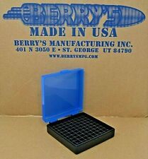 9 mm / 380 - 100 round ammo case / box (Blue / Black) Berrys mfg. 9 mm Brand New