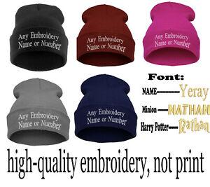 Personalised Unisex Printed Beanie Hat Custom Name Winter Headwear Man Kids