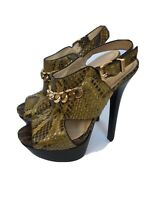 FENDI Pump Heel Platform Reptile Leather Shoes 37