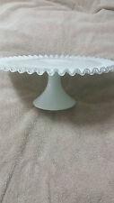 Fenton Milk Gllass Silver Crest Pedestal Cake Plate