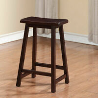 Traditional Saddle Seat Counter Height Stool Wooden Kitchen Dining Pub Den Chair