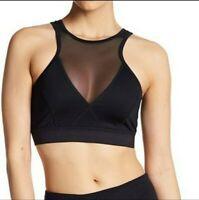 NWT Z by Zella mesh vutout high neck sports bra  Size S BLACK/ BLUE