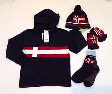 NWT Gymboree Ski Cabin Size 6 Nordic Flag Rugby Hoodie Socks Hat & Mitten Gloves