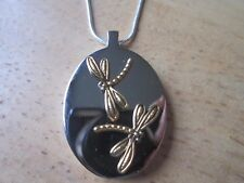STAINLESS STEEL GOLD DRAGONFLY URN NECKLACE - MOURNING, ASHES, LOCK OF HAIR