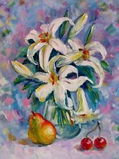 Delicate Lilies and Pear Original Oil Painting by Nadia Bykova Impasto Flowers