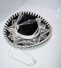 Sombrero Pigalle Hut schwarz weiß TOP ca. 33 cm  ca. 48/50