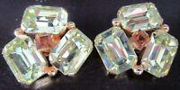 Gorgeous HUGE Yellow Rhinestone Vintage Clip Earrings