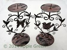 Pair of Small Metal Bird Butterfly Candlestick Candle Holder Shabby Chic Pink