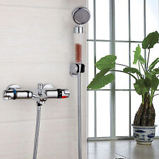Chrome Bathroom Thermostatic Shower Mixer Faucet Set Wall Mounte Sprayer Tap