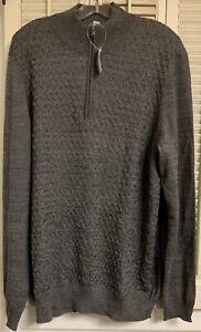 Joseph Abboud Merino Wool Blend XL 1/4 Zip Gray Pullover Sweater NWT