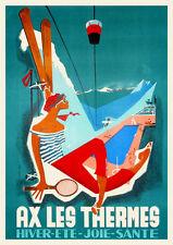 Vintage French 1950s Travel Poster Ax Les Thermes Pyrénées Ski Winter Sports