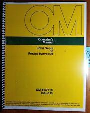 John Deere 35 Forage Harvester Owner's Operator's Manual Om-E47718 I6 9/76