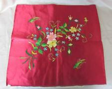 19C ANTIQUE HAND EMBROIDERED SILK PILLOW COVER / TABLE CLOTH MARKED
