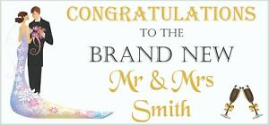 2 PERSONALISED Congratulations Wedding Banners Party Decorations Mr & Mrs 002