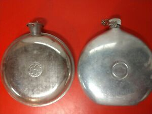 STAINLESS STEEL CANTEENS SILVER VINTAGE PIECES (2) GEM HOT WATER BOTTLE + UNIVER