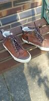 Boys Brown Leather zip Boots With Fur Lining Size 13