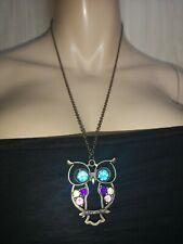 Gems Statement Costume Jewellery Long Owl Pendant Necklace Multicoloured