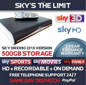 SKY PLUS HD BOX 500GB SLIM LINE RECEIVER RECORDER WITH REMOTE & RF 1&2 Outs