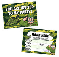 Army Military Party Invitations - Camouflage Solidiers Tanks Pack Sizes (10-50)