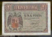 1 Peseta 28 de Febrero 1938  Burgos  @ Muy Bello @ Serie G @@