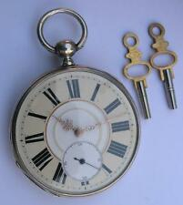 ANTIQUE KEY WIND SILVER POCKET WATCH SWISS 1890's ENGRAVED/SKELETON MOVEMENT