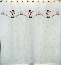 Embroidered Snowmen 70Wx72L Shower Curtain With Cardinal Cutwork Scalloped Hem