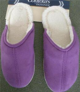 Isotoner Microsuede Clog Slipper Rich Purple Sturdy Sole Center Seam NEW fleece